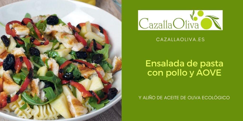 ensalada de pasta con aceite de oliva ecologico de cazallaoliva