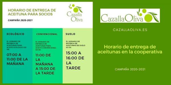 Horario de entrega de aceitunas para los socios. Campaña 2020-2021