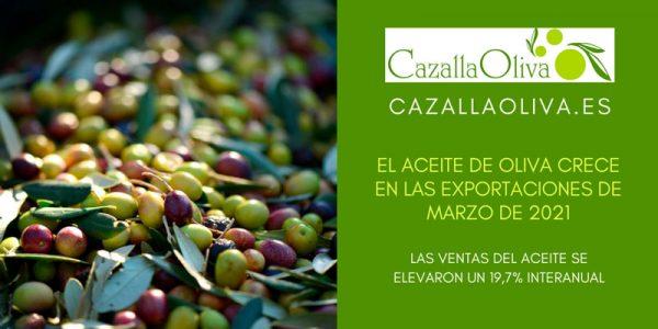 El aceite de oliva crece un 19,7% en las exportaciones de marzo de 2021